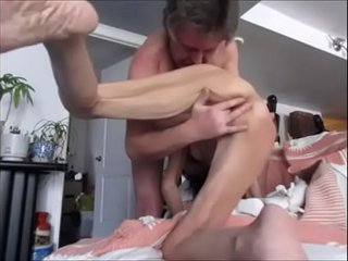 Fuking Fingering Old Skinny Wife at Home
