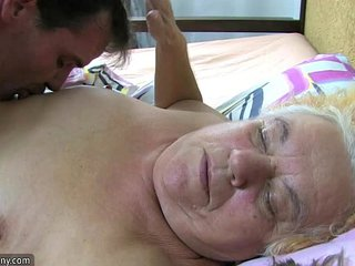 Granny and sexy Nurse is loving hot three-way