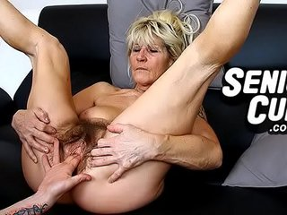Closeups of highly old hairy cunt of granny Linda
