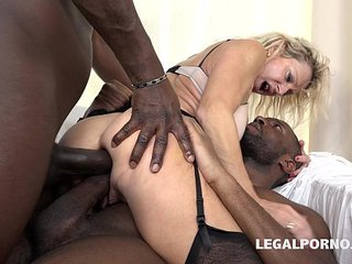 Granny fuckslut Marina Beaulieu fucked like a bitch by 2 Black mild