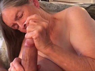 Grandma in Underwear Handjob and Drinking Cum