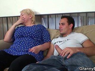 Buxomy blonde grandma