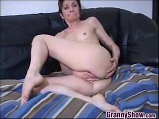 Granny With Diminutive Knockers Taunting Her Pussy