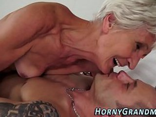Gross old granny screwed and sucks hard-on