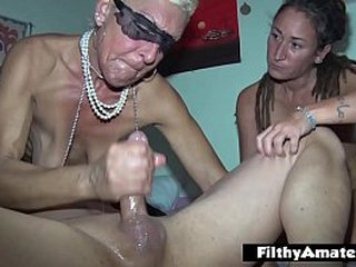 The wealthy old woman takes part in amateur orgy