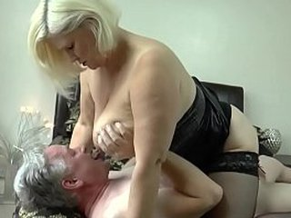 LACEYSTARR - Busty Granny Lacey Starr Tittyfucks Cock