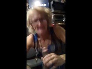 Superb skinny grandma withoud teeth giving buns to drink cum