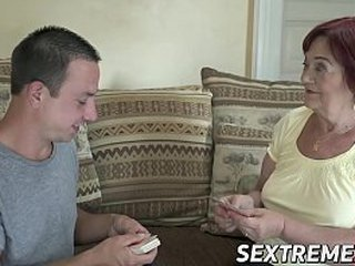 Busty redhead granny rails a youthfull dude
