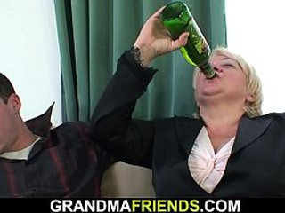 Boozed granny gets double fucked