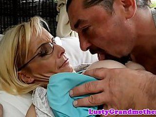 Spex granny enjoys getting anally banged