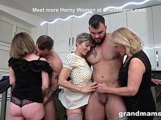 See Three Grandmas Get Into Cock Struggle