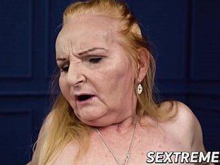 Redhead granny rails hard-on like pro