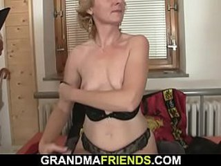Old blonde skinny granny