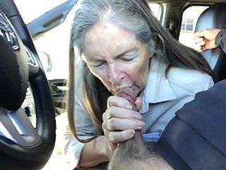 granny suck off in car - cum