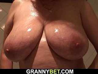 Old granny with big knockers gets doggystyle screwed