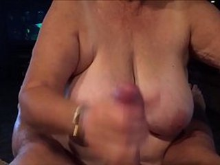 Older Housewife Providing Hand job to a Thick Hard-on and Drink Cum