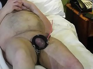 Granny hits masculine sub dick with tennis ball cannon.