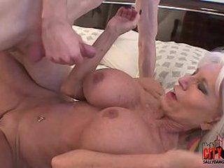 Horny grandma showcases grandson how to fuck.