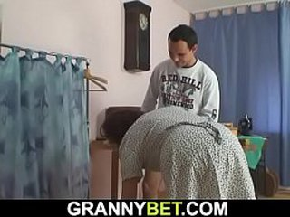 Sewing granny likes huge-boobed and railing his hard-on