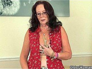 British granny Zadi screws herself with a dildo