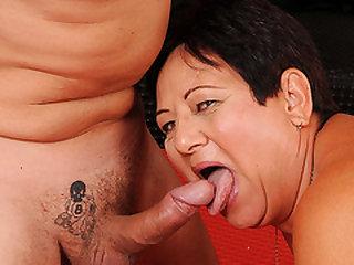Old BBW Granny Enjoying her Junior Plaything