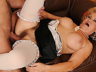 Granny's Hairy Pussy Filled With Young Hard-on