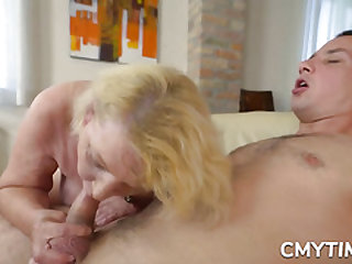 Blonde grandma fucked real rock hard