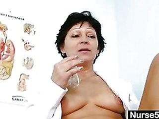 Engulfs Mummy in nurse uniform stretching wooly vagina