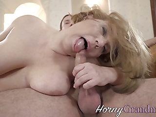 Old woman blows stiff cock