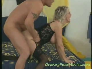 Thick hooter granny threesome