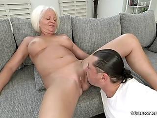 Blonde grandma masturbates and acquires porked