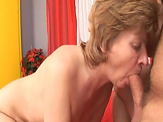 Sexually Sexually aroused granny sucks on a rock hard pecker former to being screwed