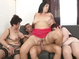 Granny and breasty mammas sharing young son