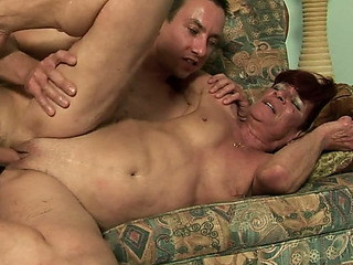 Lewd and lusty granny Angela Reed copulates her kind neighbor