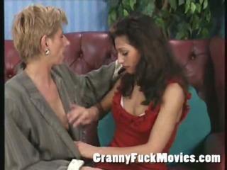 granny seduced a lesbo