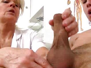 Muddy grandma Hana uniform cfnm tugjob