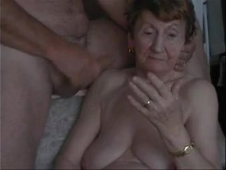 Grandma deep-throats dick